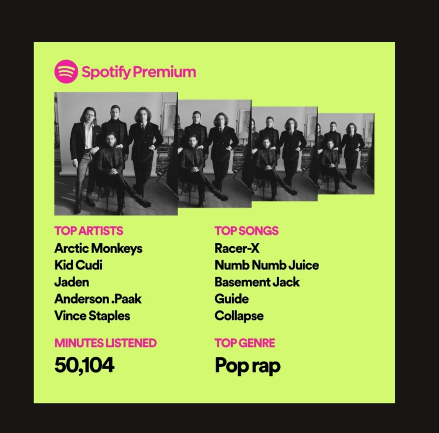 Spotify 2019 wrapped featuring Kid Cudi, Toro Y Moi, Arctic Monkeys and Vince Staples